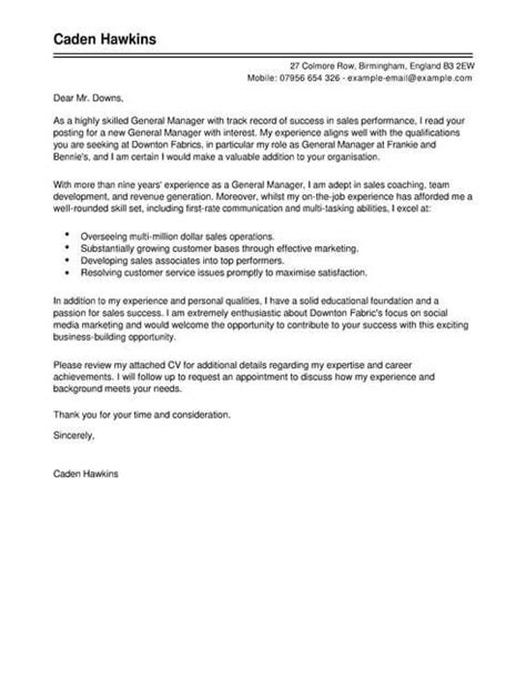 Sle Of A General Cover Letter by General Sales Manager Cover Letter Template Cover Letter