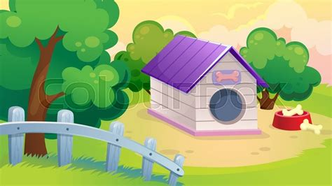 Vector Cartoon Game Background Of Farm Landscape With A