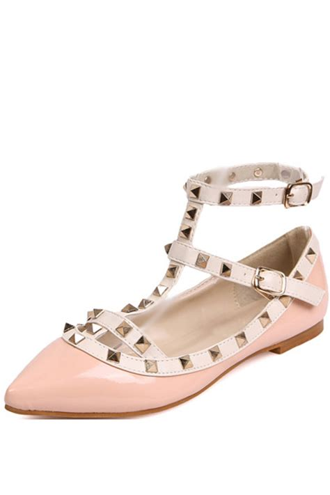 pink faux leather pointed toe studded flats