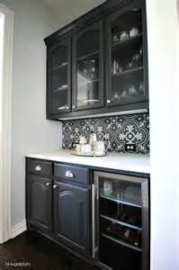 backsplash for black and white kitchen black and white butler pantry tile backsplash transitional kitchen