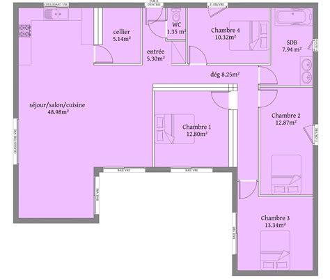 plan maison 6 chambres plain pied 126 m 4 chambres plain pieds plan maison