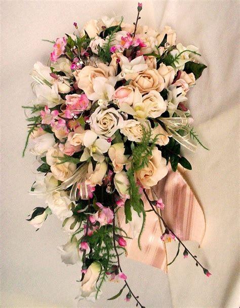 wedding bouquet ivory pink cherry blossoms custom  kim