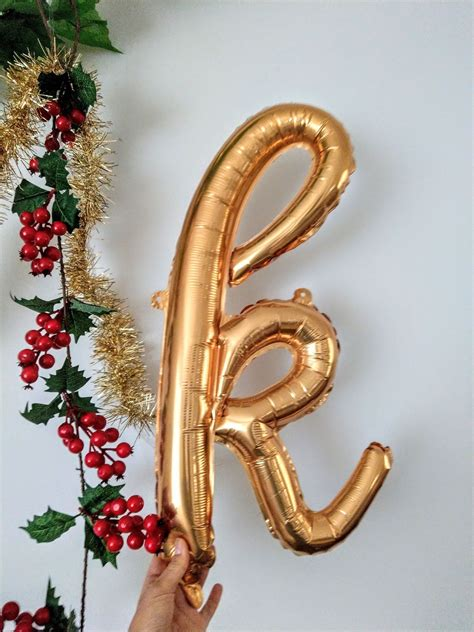 outofmybubble cursive gold foil balloon letters alphabet