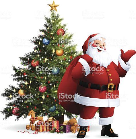 photo of santa claus and christmas tree santa claus tree stock vector more images of animal representation 158428956