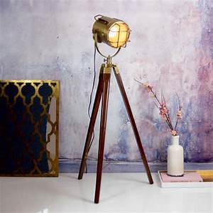 nautical gold brass standing floor tripod lamp by made With brass tripod floor lamp uk