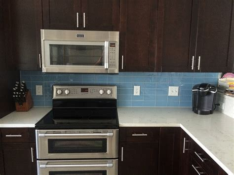 blue tile backsplash kitchen sky blue glass subway tile kitchen backsplash with