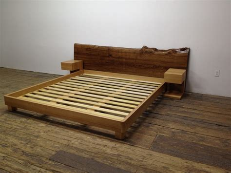 Custom Platform Bed With Night Stands And Slab Head Board