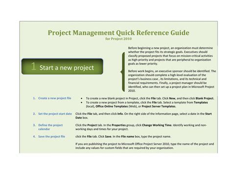 Project Management Manual Template by Project 2010 Reference Guide Template For Word 2010