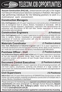 Nascom construction pvt ltd jobs 2015 april civil for Documents control jobs