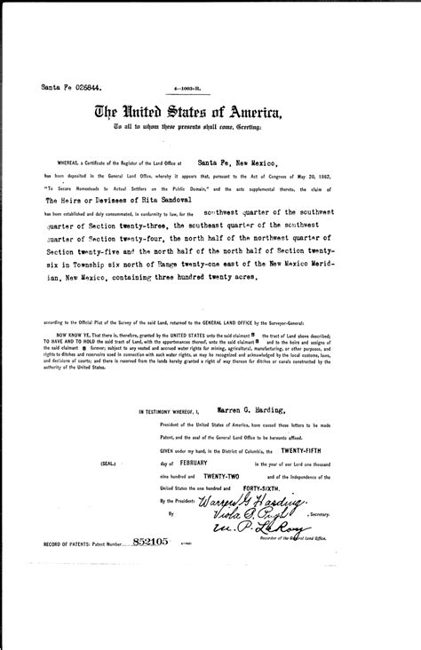 bureau lgc sandoval serial land patent in guadalupe county
