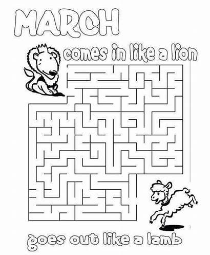 March Coloring Printable Preschoolers Sheets Lamb Lion