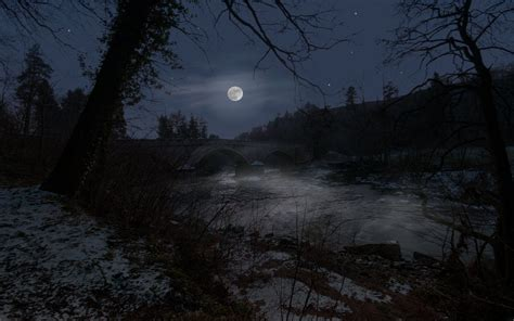 cool imageslandscapes displaynight view rivers moon
