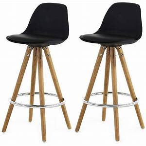 Lot De 2 Tabourets De Bar Scandinaves Noir UMA Achat