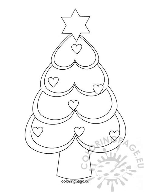 christmas tree hearts coloring page coloring page