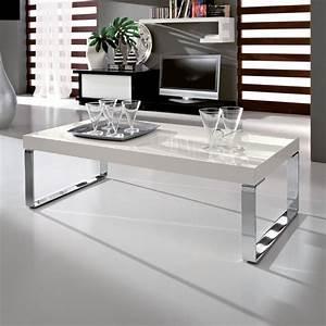 Evert tavolino da salotto in legno bianco lucido e metallo for Tavolino salotto bianco