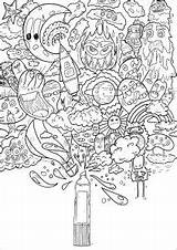 Doodle Coloring Printable Magic Pages Adults Doodling Print Spray Children Little Adult Awesome Bomb Send Kawaii Artist Lea Justcolor sketch template