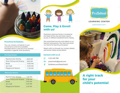 pre school brochure design template in psd word 871 | PreschoolBrochure Front
