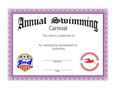 certificate  achievement  swimming  certificate