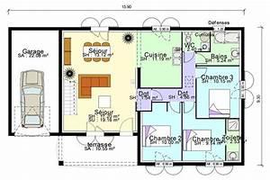 plan de maison plain pied avec suite parentale mezzanine With plan 3d maison gratuit 12 tableau electrique maison 200m2