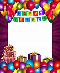 Happy Birthday with Balloons Transparent PNG Frame ...