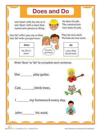 simple verbs    worksheet educationcom