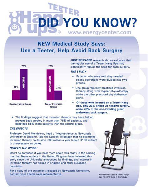 benefits of using inversion table newcastle university study avoid back surgery