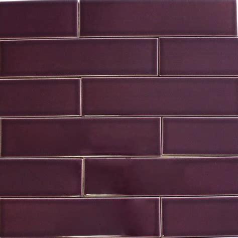 Kiln Ceramic 2x8 Plum   Dark Purple Ceramic Tile