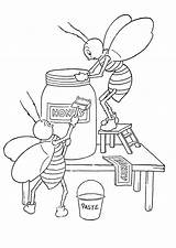 Printable Bees Coloring Honey Pdf Fairy sketch template