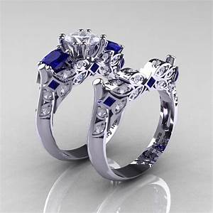 Classic 14k white gold three stone princess white and blue for Blue sapphire wedding ring set