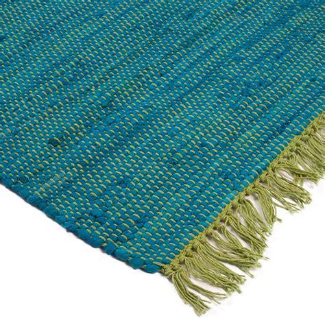 tapis tress 233 plat en coton bi couleur bleu vert 60x90cm