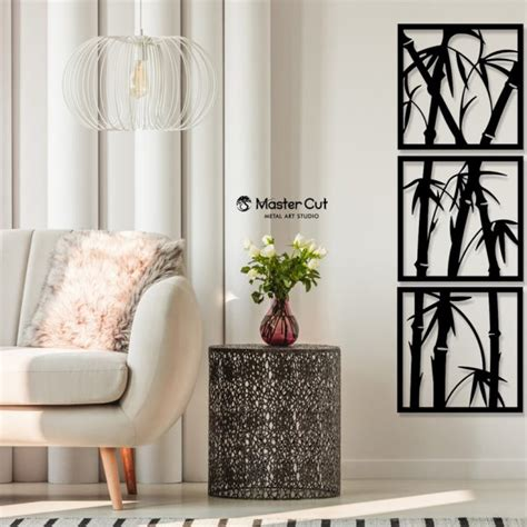 Explore the widest collection of home decoration and construction products on sale. Set of 3 Panels Bamboo Metal Wall Hanging Sculpture Home Decor Art - Mastercut