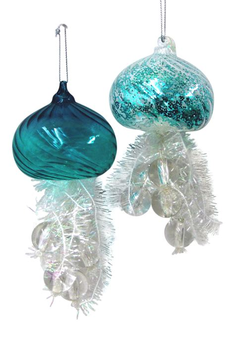 iridescent teal blue and white jellyfish christmas holiday