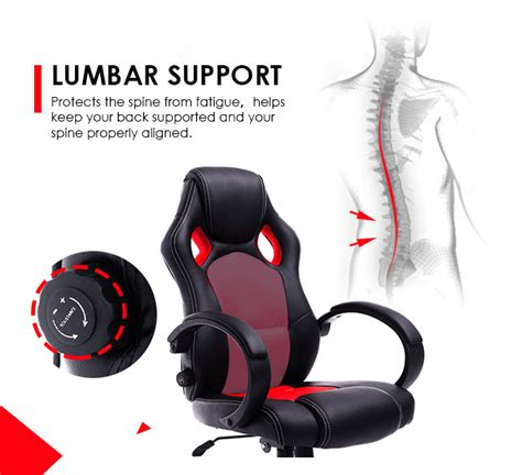 racing office computer chair lumbar support adjustable pu