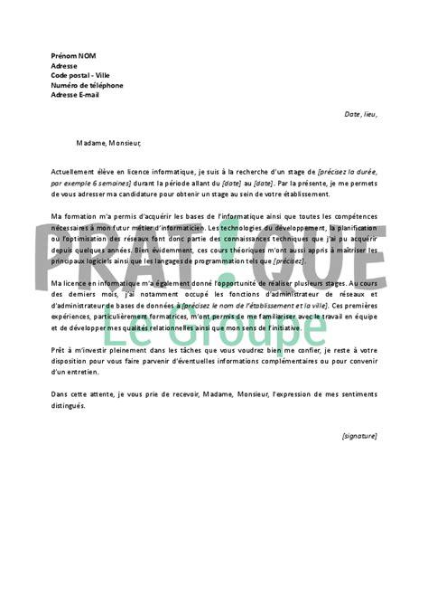 lettre de motivation pour la cuisine lettre de motivation pour un stage en licence informatique