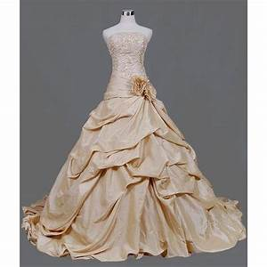 Wedding dress with color in light gold wedding dresses for Light gold wedding dress