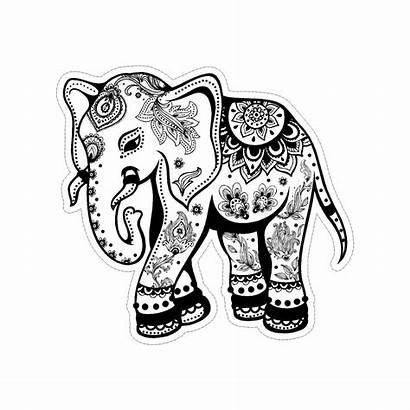 Elephant Tribal Mandala Sticker Coloring Pages Vinyl