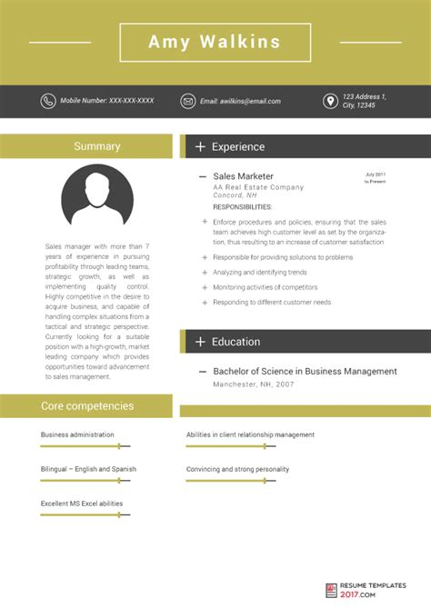 Marketing Resume Templates 2017 by Management Resume Template Is Professional Help From The Professionals