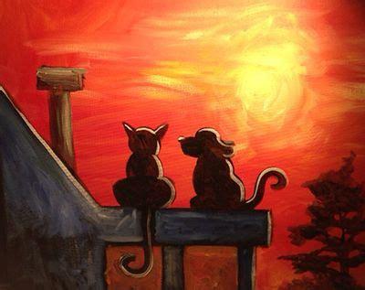 cat dog sunset night painting painting paint nite