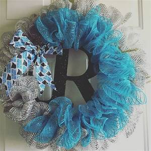 My DIY Carolina Panthers wreath turned out to be amazing
