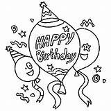 Coloring Birthday Balloon Party Sky sketch template