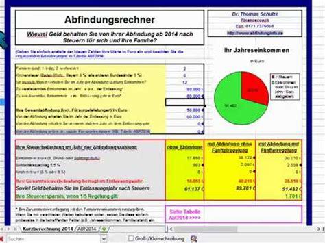 abfindung mit fuenftelregelung steuervorteil berechnen