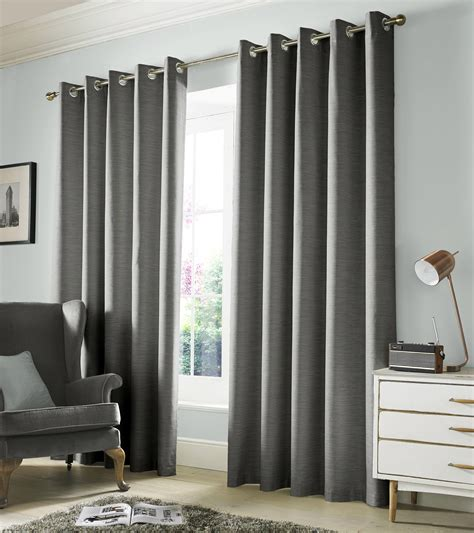 monaco blackout lined eyelet curtains dove grey modern