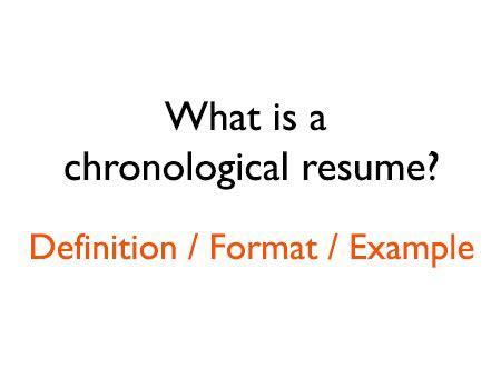 chronological resume format  definition