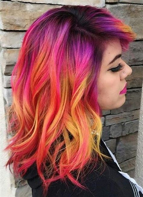Red Yellow Mixed Dyed Hair Color Idea Inspiration Hair