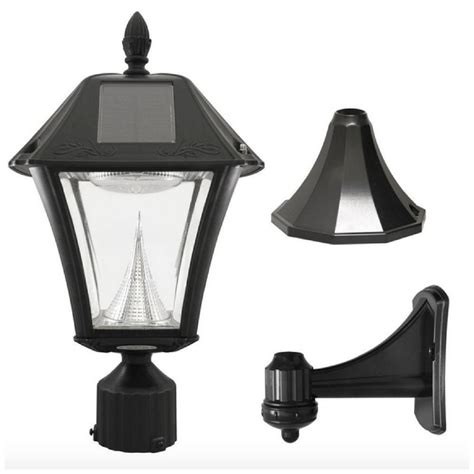 solar led outdoor l post solar led black outdoor street post pole wall mount light