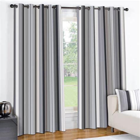 Striped Eyelet Lined Curtains Black Grey   Tony's Textiles