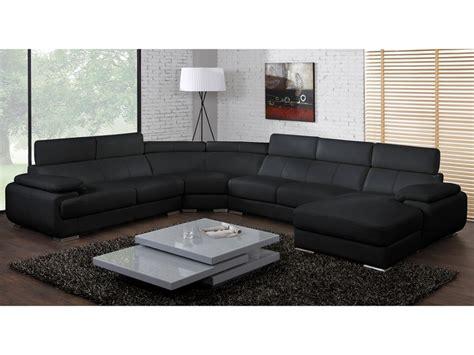 canap panoramiques canapé panoramique cuir 7 places elevanto noir ou blanc