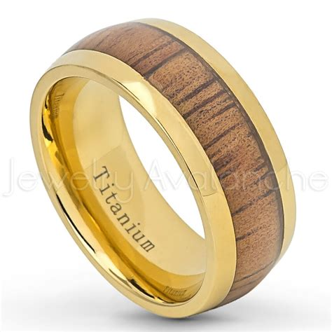 comfort fit yellow gold plated titanium wedding band