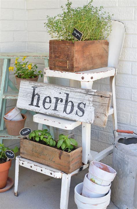 Diy Patio Herb Garden diy herb garden with vintage boxes