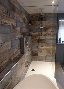 reclaimed wood effect tiles diseno pinterest bath With bathroom in the woods